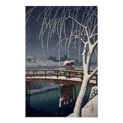 江戸川の宵雪, Evening Snow at Edogawa, Hasui Kawase Poster