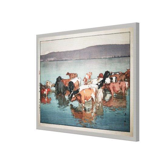 沼崎牧場の昼, Cows, Hiroshi Yoshida, Woodcut Canvas Print