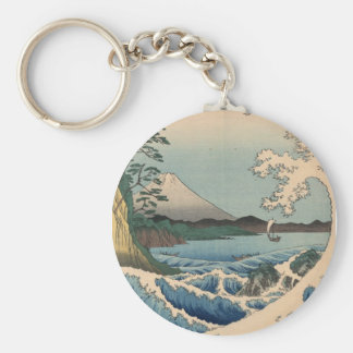 波と富士山, 広重 Wave and Mount Fuji, Hiroshige Basic Round Button Key Ring