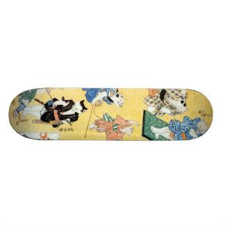流行猫の狂言づくし, 国芳 Actors of The Cat, Kuniyoshi, Ukiyoe Custom Skate Board