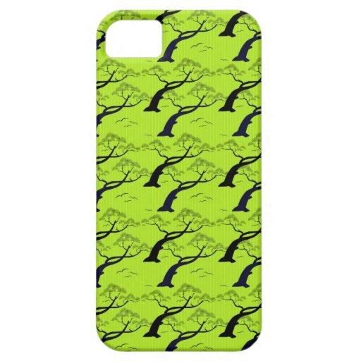 涼しい東洋の日本の木の鳥のストライブ柄パターン iPhone 5 CASE
