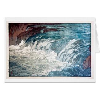 渓流, Rapids, Hiroshi Yoshida, Woodcut Card