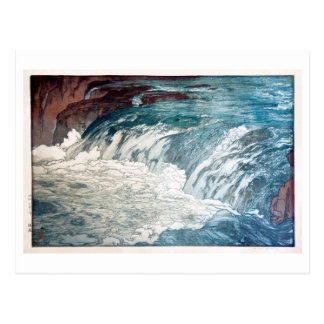 渓流, Rapids, Hiroshi Yoshida, Woodcut Postcard