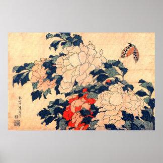 牡丹と蝶 北斎 Peonies and Butterfly Hokusai Ukiyoe Print