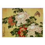 牡丹に蝶 Peonies Butterfly 葛飾北斎 Katsushika Hokusai Note Card