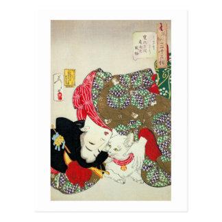 猫が好き, 芳年 I Love Cats, Yoshitoshi, Ukiyo-e Post Card