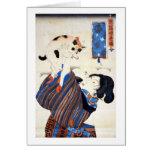 猫と女, 国芳 Cat and Woman, Kuniyoshi, Ukiyo-e Greeting Card