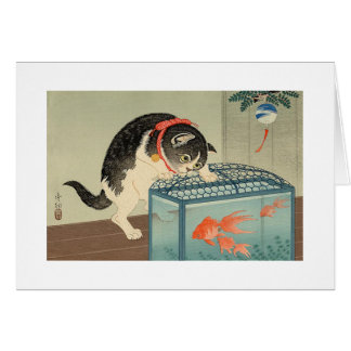 猫と金魚, 古邨 Cat & Goldfish, Koson, Ukiyo-e Card