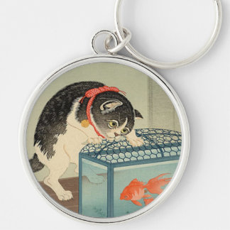 猫と金魚, 古邨 Cat & Goldfish, Koson, Ukiyo-e Key Ring