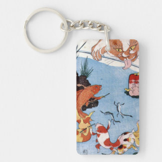猫と金魚, 国芳 Cat and Goldfish, Kuniyoshi, Ukiyo-e Key Ring