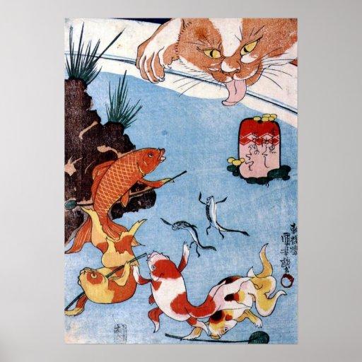 猫と金魚, 国芳 Cat and Goldfish, Kuniyoshi, Ukiyo-e Poster