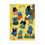 猫の曲芸師, 国芳 Acrobat of the Cats, Kuniyoshi, Ukiyo-e Post Card
