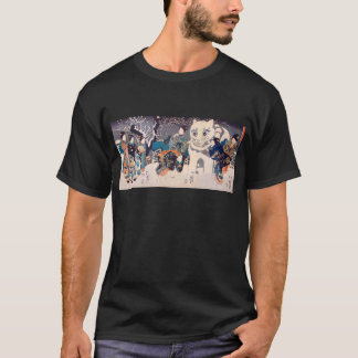 猫の雪だるま,国芳 Snowman of big Cat, Kuniyoshi, Ukiyo-e T-Shirt