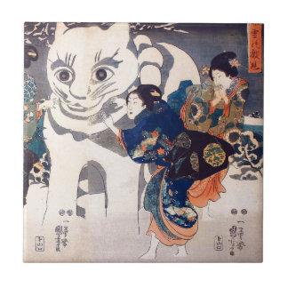 猫の雪だるま,国芳 Snowman of big Cat, Kuniyoshi, Ukiyo-e Tile