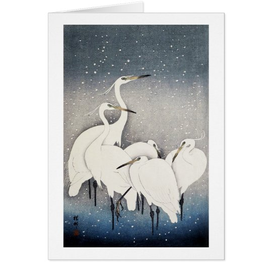 白鷺の群れ, 古邨 Group of Egrets, Ohara Koson, Woodcut