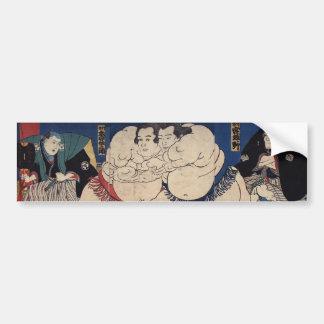 相撲, 国芳 Sumo Wrestling, Kuniyoshi, Ukiyo-e Bumper Sticker