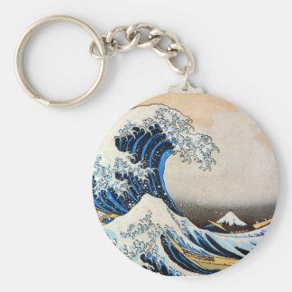神奈川沖浪裏,北斎 Great Wave, Hokusai Basic Round Button Key Ring