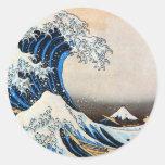 神奈川沖浪裏,北斎 Great Wave, Hokusai Round Sticker
