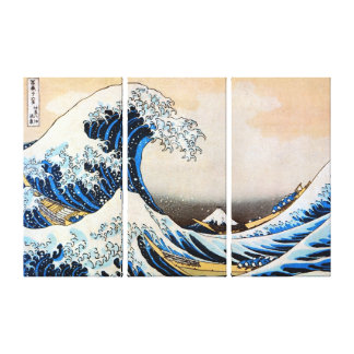神奈川沖浪裏, 北斎 Great Wave, Hokusai, Ukiyo-e Canvas Print