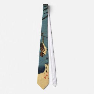 竹に雀, 広重 Bamboo and Sparrow, Hiroshige, Ukiyo-e Tie