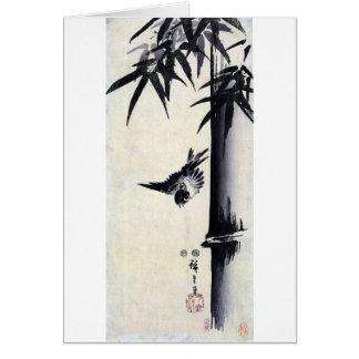竹に雀, 歌川広重 Bamboo & Sparrow, Hiroshige, Sumi-e Card