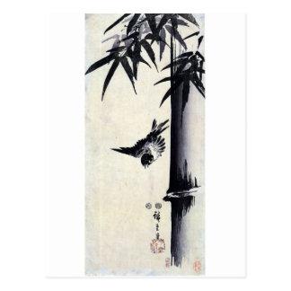 竹に雀, 歌川広重 Bamboo & Sparrow, Hiroshige, Sumi-e Postcard