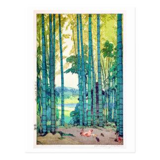 竹林, Bamboo grove, Hiroshi Yoshida, Woodcut Postcard