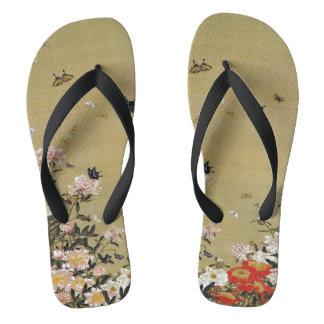 芍 medicine group butterfly figure Shakuyaku Flip Flops