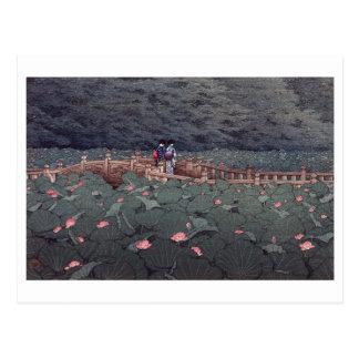 「芝弁天池」川瀬巴水 木版画 Lotus of Benten Pond, Hasui Kawase Postcard