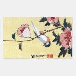 花に鳥, 広重 Bird and Flower, Hiroshige, Ukiyo-e Rectangle Sticker