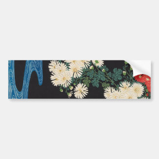 菊に流水, 古邨 Chrysanthemums & Stream, Koson, Ukiyo-e Bumper Sticker