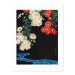 菊に流水, 古邨 Chrysanthemums & Stream, Koson, Ukiyo-e Postcard
