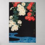 菊に流水, 古邨 Chrysanthemums & Stream, Koson, Ukiyo-e Poster