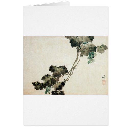 葡萄, 北斎 Grape, Hokusai Greeting Cards