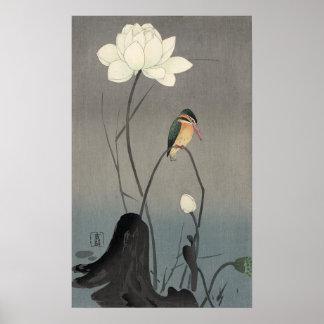 蓮にカワセミ 古邨 Kingfisher on Lotus Koson Ukiyo-e Poster