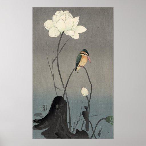 蓮にカワセミ, 古邨 Kingfisher on Lotus, Koson, Ukiyo-e Poster