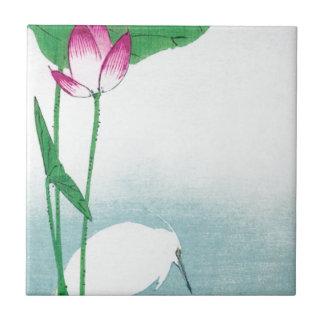 蓮に白鷺, 小原古邨 Lotus & White heron, Koson, Ukiyo-e Small Square Tile