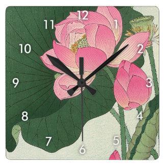 蓮の花, 小原古邨 Lotus flower, Ohara Koson, Ukiyo-e Square Wall Clock