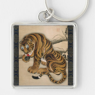 虎図, 若冲 Tiger, Jakuchu Silver-Colored Square Key Ring