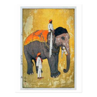 象, Elephant, Hiroshi Yoshida, Woodcut Postcard