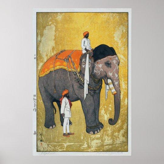 象, Elephant, Hiroshi Yoshida, Woodcut Poster