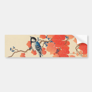 赤い蔦に鳥, 古邨 Bird on Red Ivy, Koson, Ukiyo-e Bumper Sticker