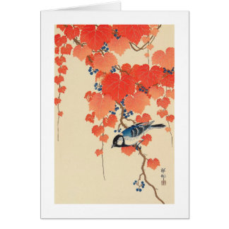 赤い蔦に鳥 古邨 Bird on Red Ivy Koson Ukiyo-e Greeting Card