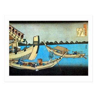 隅田川, 北斎 Sumida River, Hokusai, Ukiyo-e Postcard