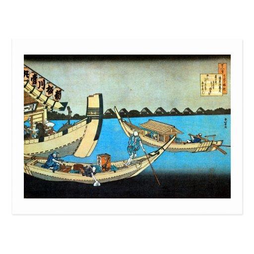 隅田川, 北斎 Sumida River, Hokusai, Ukiyo-e Postcards