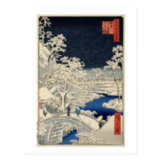 雪の太鼓橋, 広重 Snowy Drum bridge, Hiroshige, Ukiyo-e Postcard