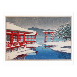 雪の宮島, Miyajima Shrine in Snow, Hasui Kawase Postcard