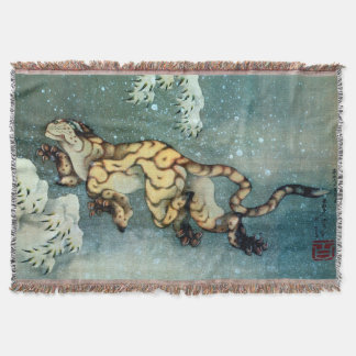 雪中虎図, 北斎 Tiger in the Snow, Hokusai, Art Throw Blanket