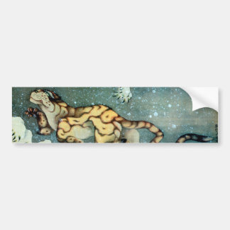 雪中虎図, 北斎 Tiger in the Snow, Hokusai Bumper Sticker