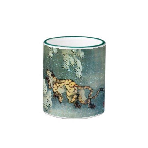 雪中虎図, 北斎 Tigerin theSnow, Hokusai Coffee Mugs